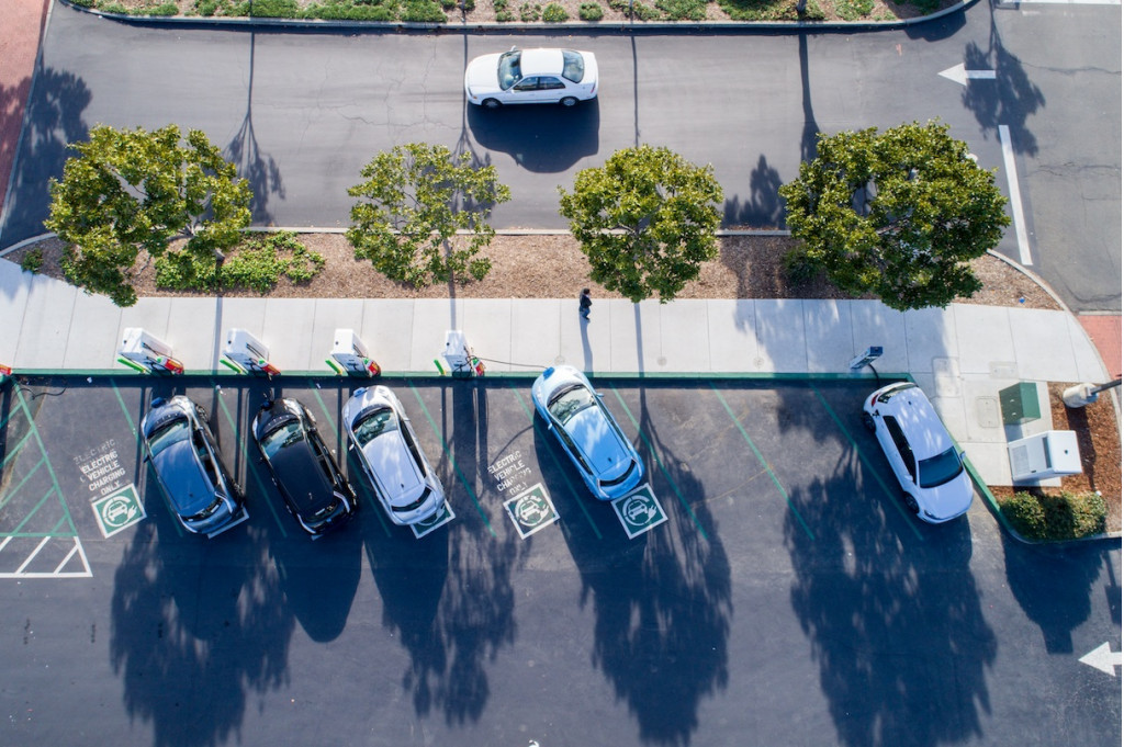 EVgo charging station overhead view