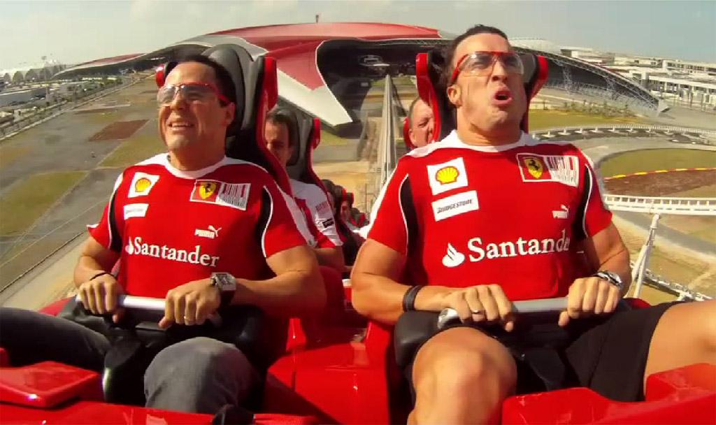 Felipe Massa and Fernando Alonso on the Formula Rossa roller coaster