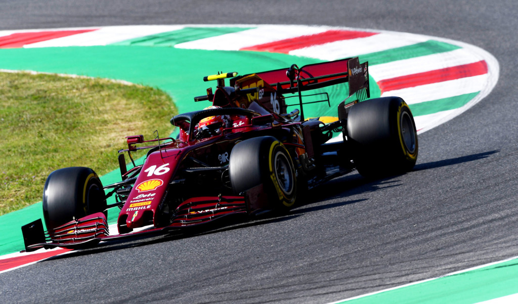 Ferrari's Charles Leclerc during practice for the 2020 Formula One Tuscan Grand Prix