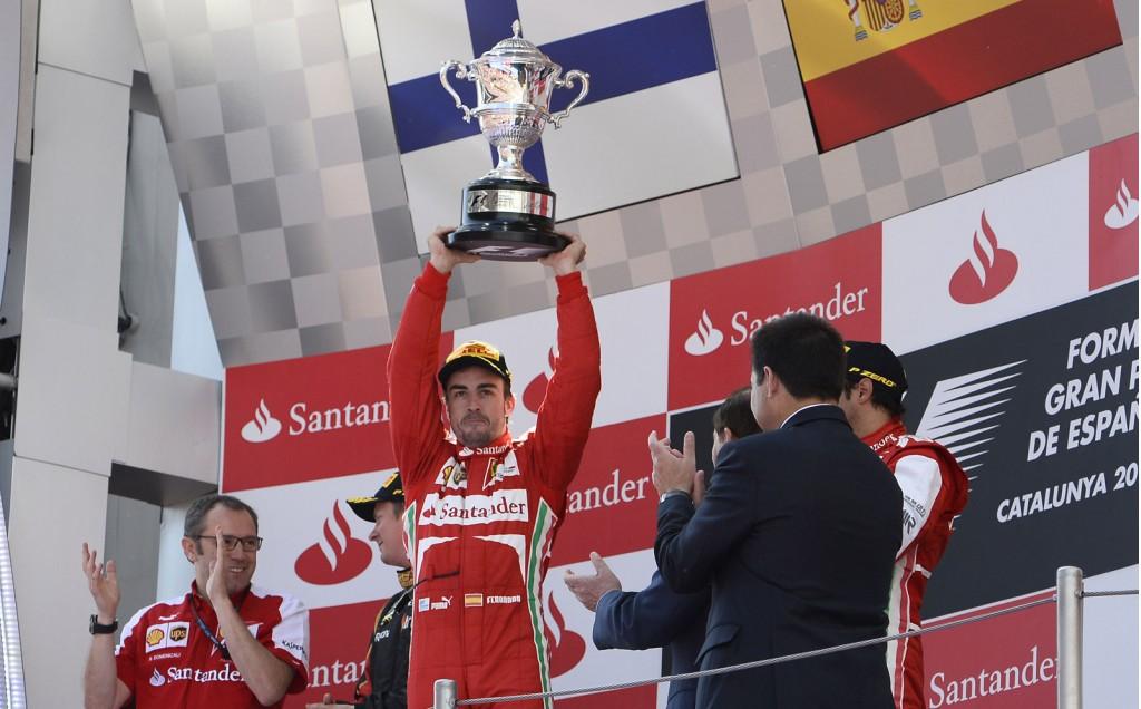 Ferrari's Fernando Alonso after winning the 2013 Formula 1 Spanish Grand Prix
