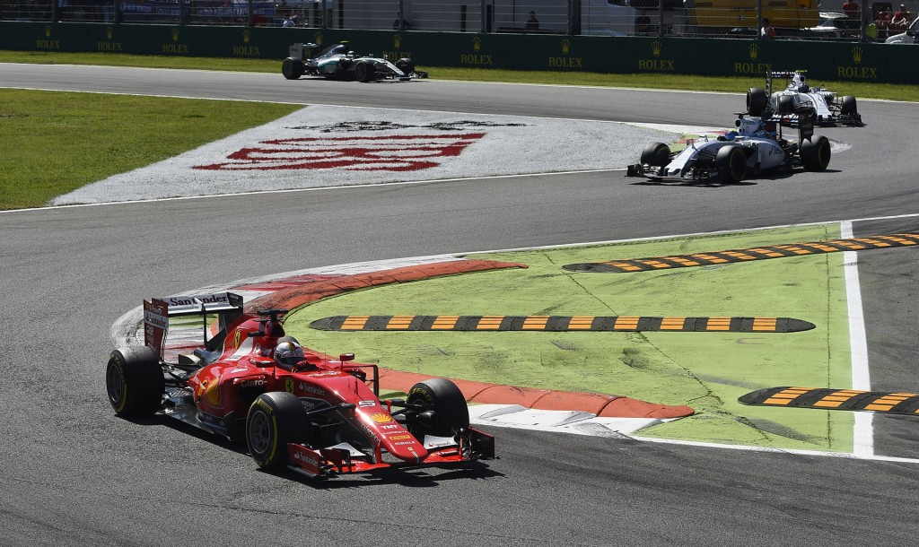 Ferrari's Sebastian Vettel at the 2015 Formula One Italian Grand Prix