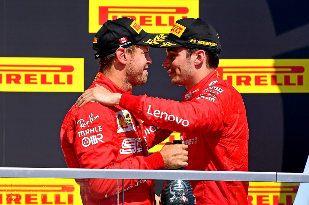 Ferrari's Sebastian Vettel (left) and Charles Leclerc at the 2019 Formula One Canadian Grand Prix