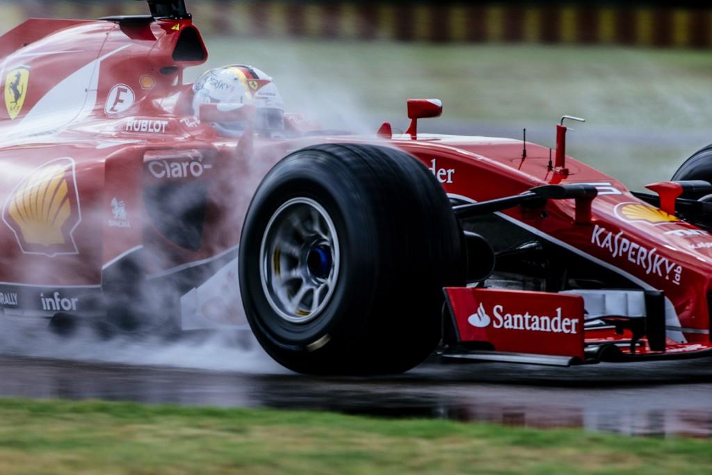 Ferrari's Sebastian Vettel tests Pirelli's wide tires for 2017 Formula One World Championship