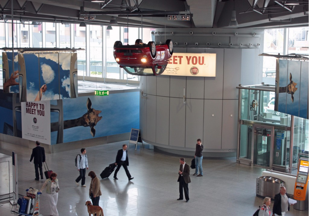 Fiat 500 Convertible hung in the Frankfurt Rhein-Main Airport