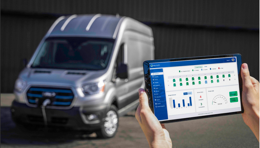 Ford E-Transit with tablet and Ford Pro fleet software