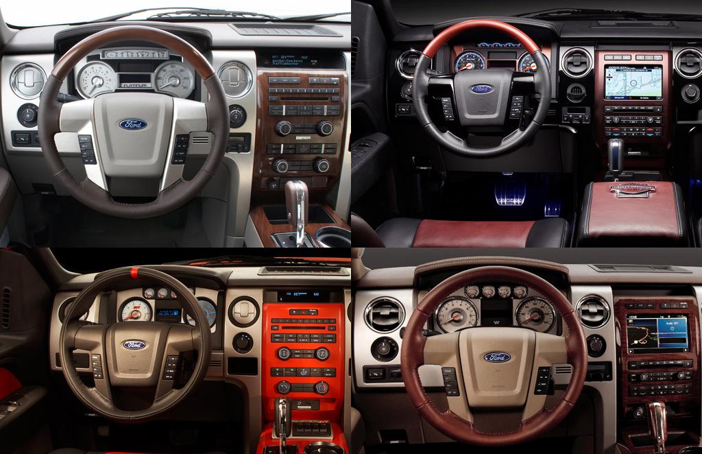 Ford F 150 Platinum, Harley Davidson, Raptor, And King Ranch Interiors