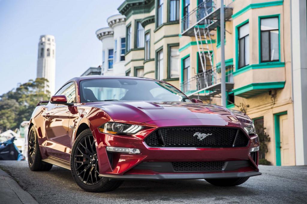 Ford Mustang GT near San Francisco's Coit Tower (Matt Dayka/For Motor Authority)