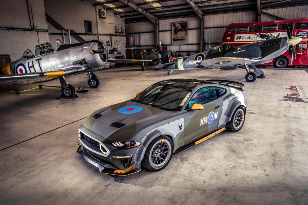 Vaughn Gittin Jr. and the Eagle Squadron Mustang roars at Goodwood