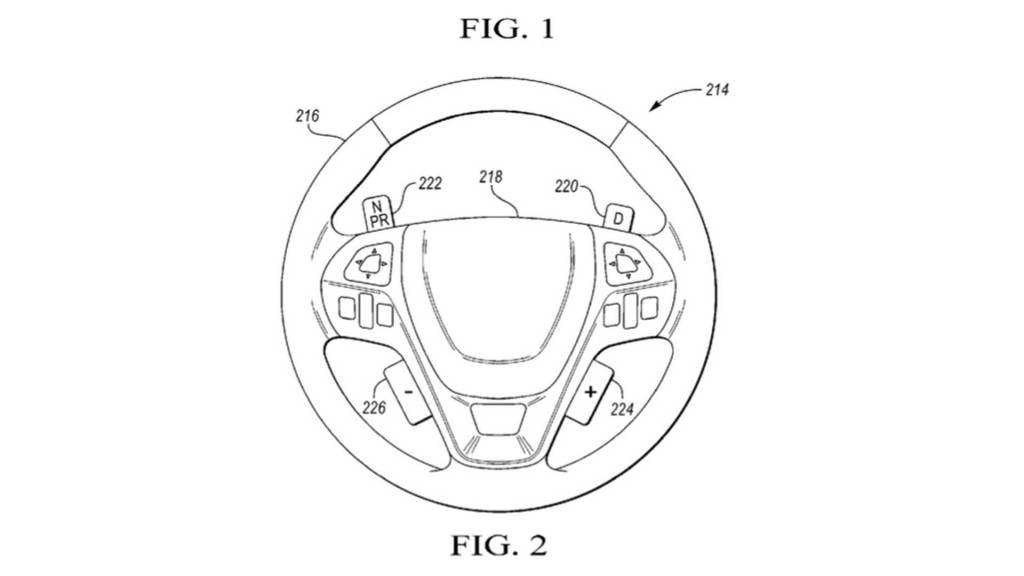 Ford patent drawings for steering wheel with gear change buttons