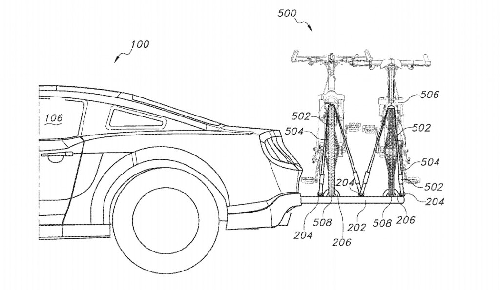 Patent showing integrated bike rack from Ford