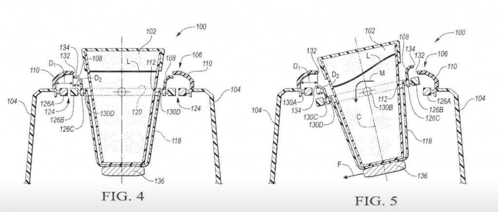 Ford self-leveling cupholder patent image