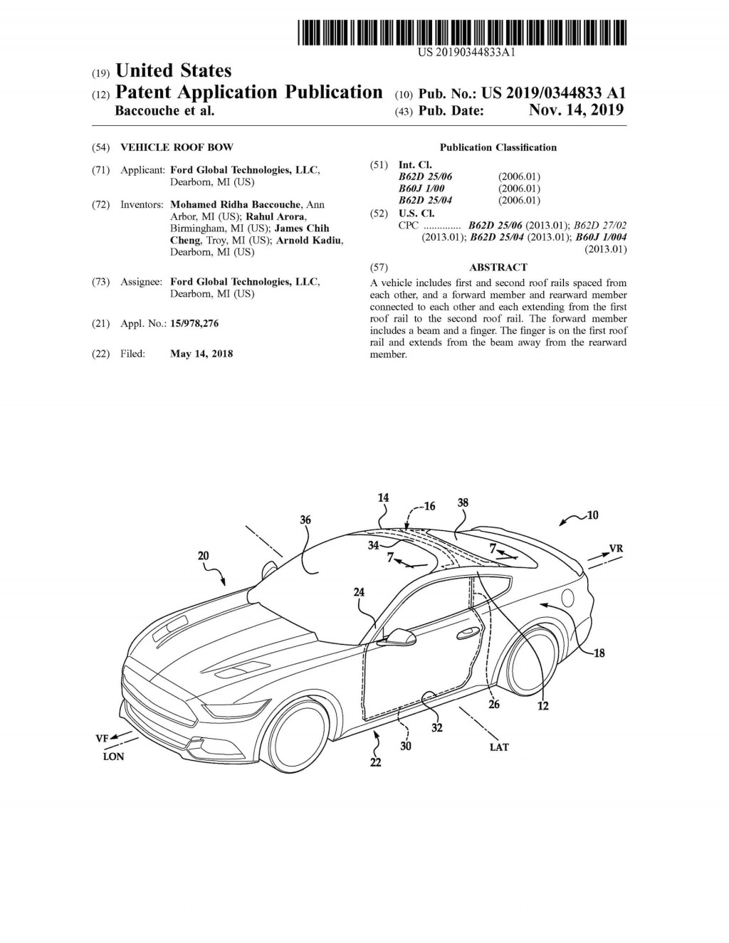 Ford vehicle roof patent