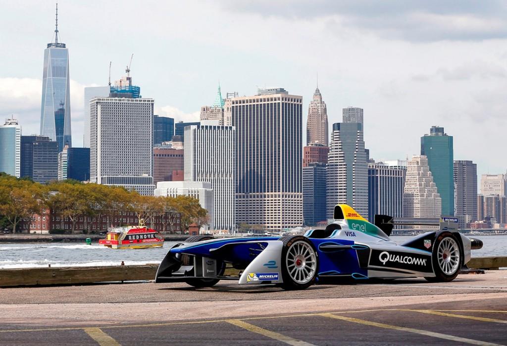 Formula E car in New York City