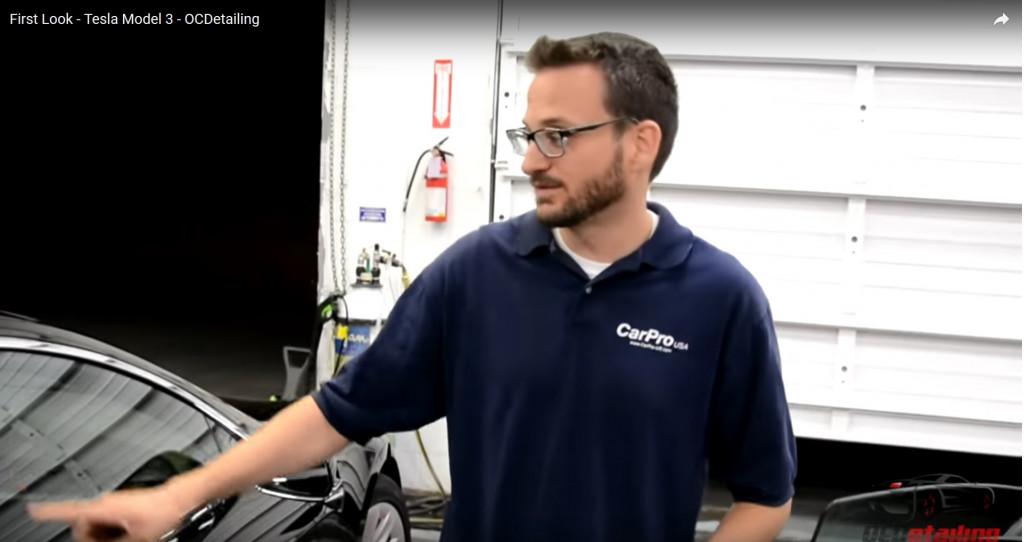Frame from 2017 Tesla Model 3 first-look video by Joe Torbati of OCDetailing, Fremont, CA  [YouTube]