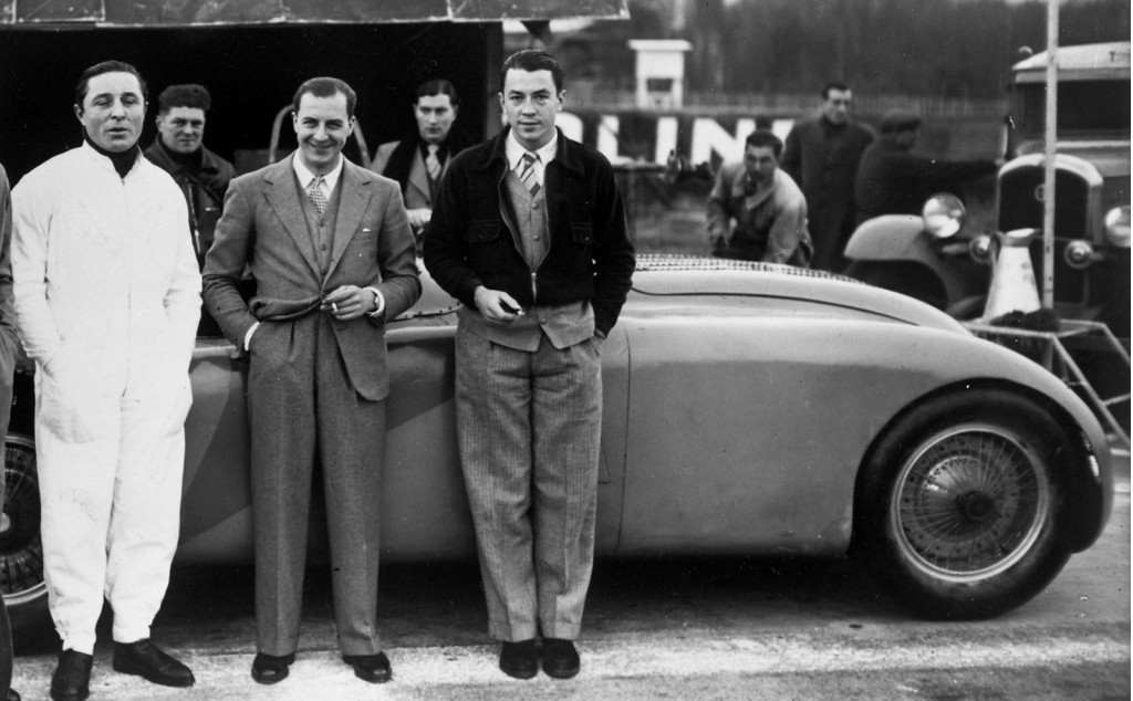 From left to right: Pierre Veyron, Jean Bugatti and Jean-Pierre Wimille
