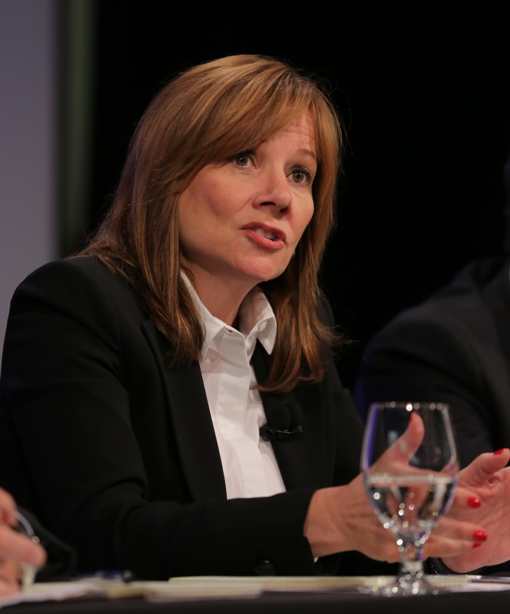 General Motors CEO Mary Barra answers questions from media