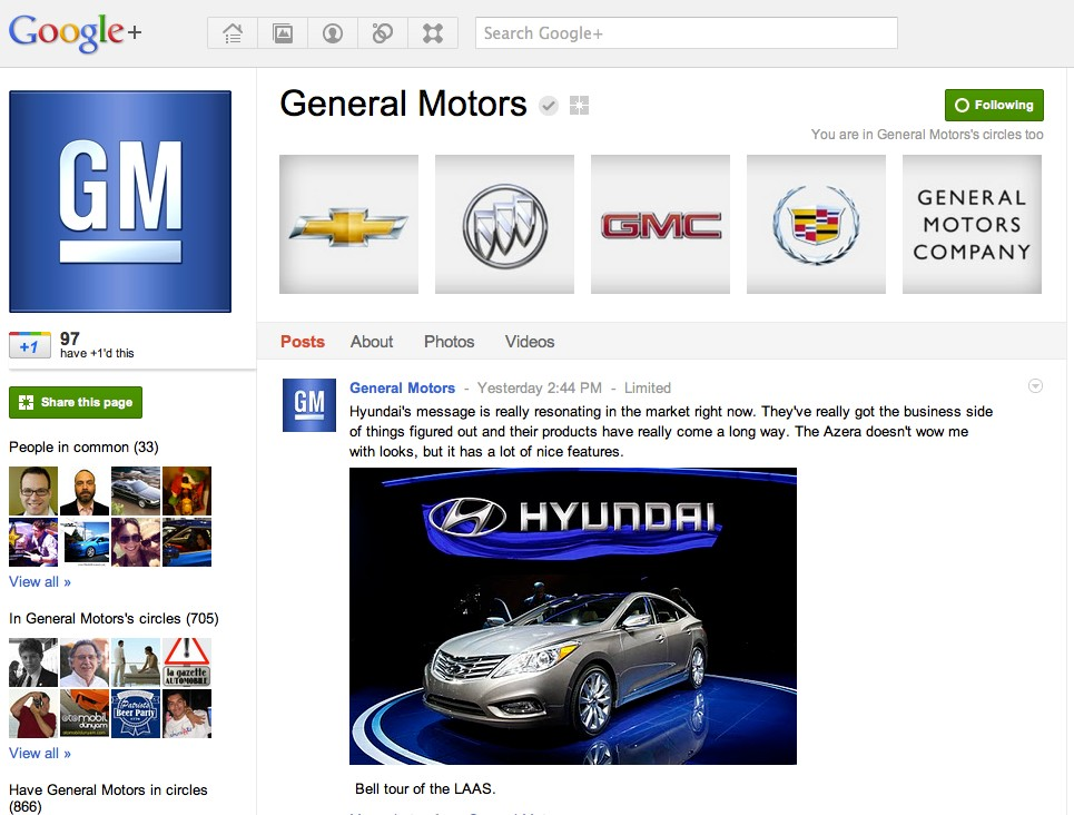 General Motors Takes Unique Approach To Google+