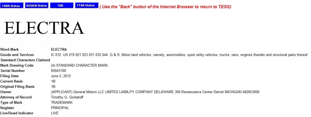General Motors' U.S. PTO trademark search result for Electra