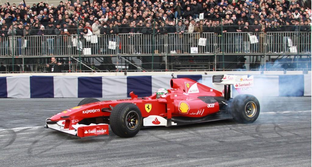 Giancarlo Fisichella in a 2009 Ferrari F1 car at the 2012 Bologna Motor Show