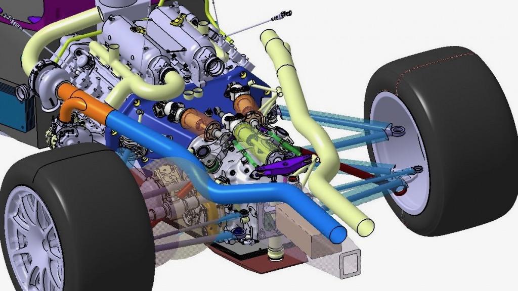 Scuderia Cameron Glickenhaus 007 Le Mans Hypercar race car's V-8 engine