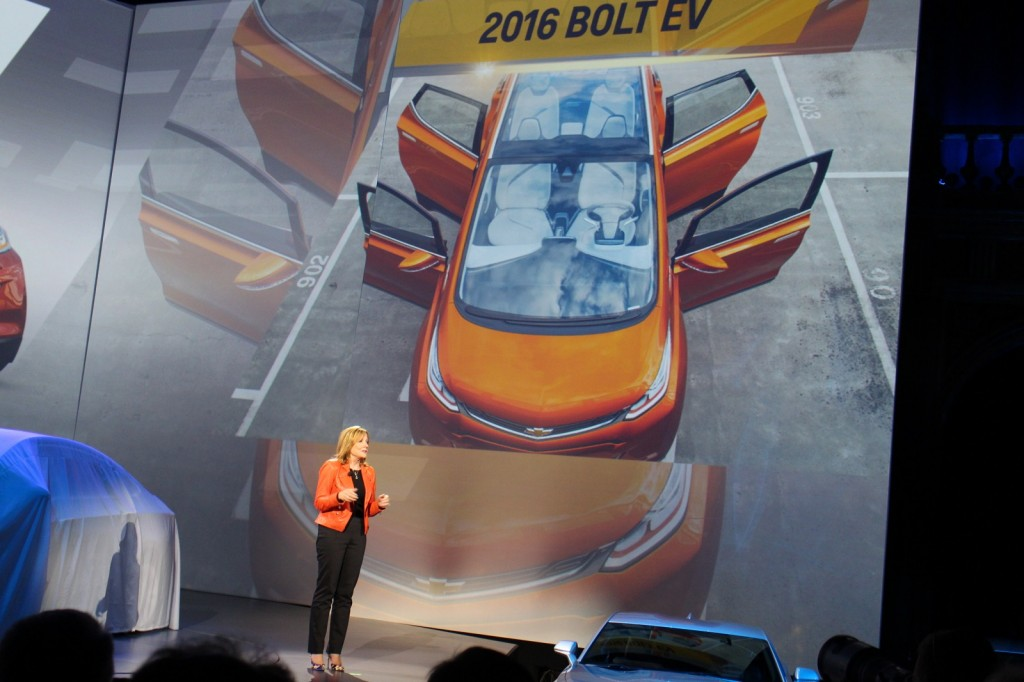GM CEO Mary Barra and Chevy Bolt EV electric car image at 2016 Chevrolet Cruze launch, Jun 2015