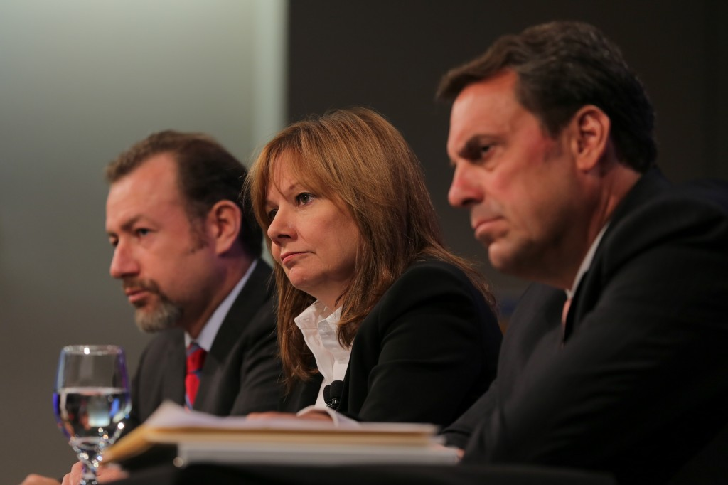 GM President Dan Ammann (l to r), CEO Mary Barra, and Executive Vice President Mark Reuss