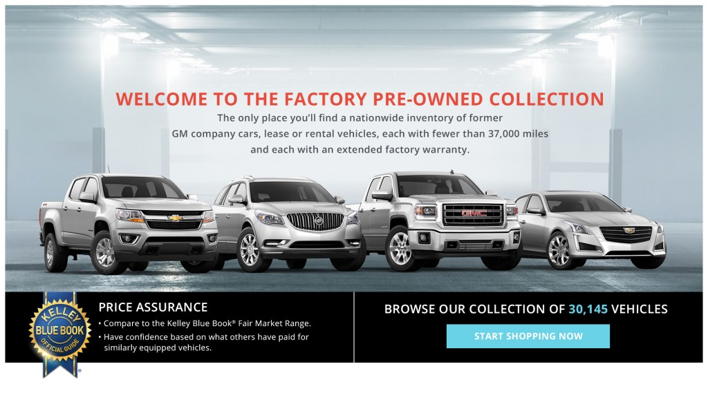GM's new used car online shopping site, the Factory Pre-Owned Collection