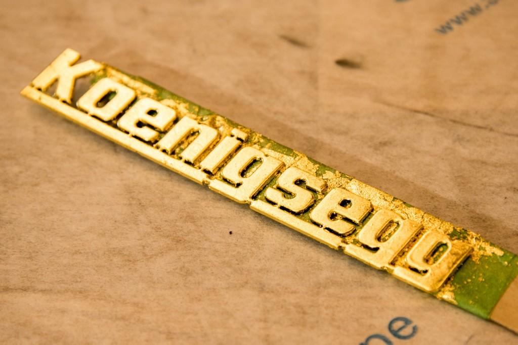 Gold leaf application process at Koenigsegg factory in Ängelholm, Sweden