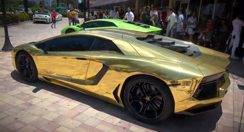 Miami Lamborghini Dealer Unveils GoldWrapped Aventador Video - Lamborghini car dealership