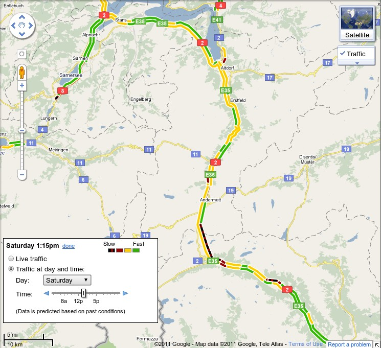 Image: Google Maps With Traffic Info For Switzerland's
