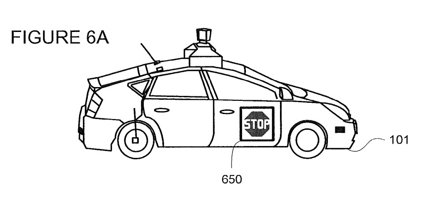 Google's patent #9,196,164, notifying pedestrians of the intent of a self-driving vehicle