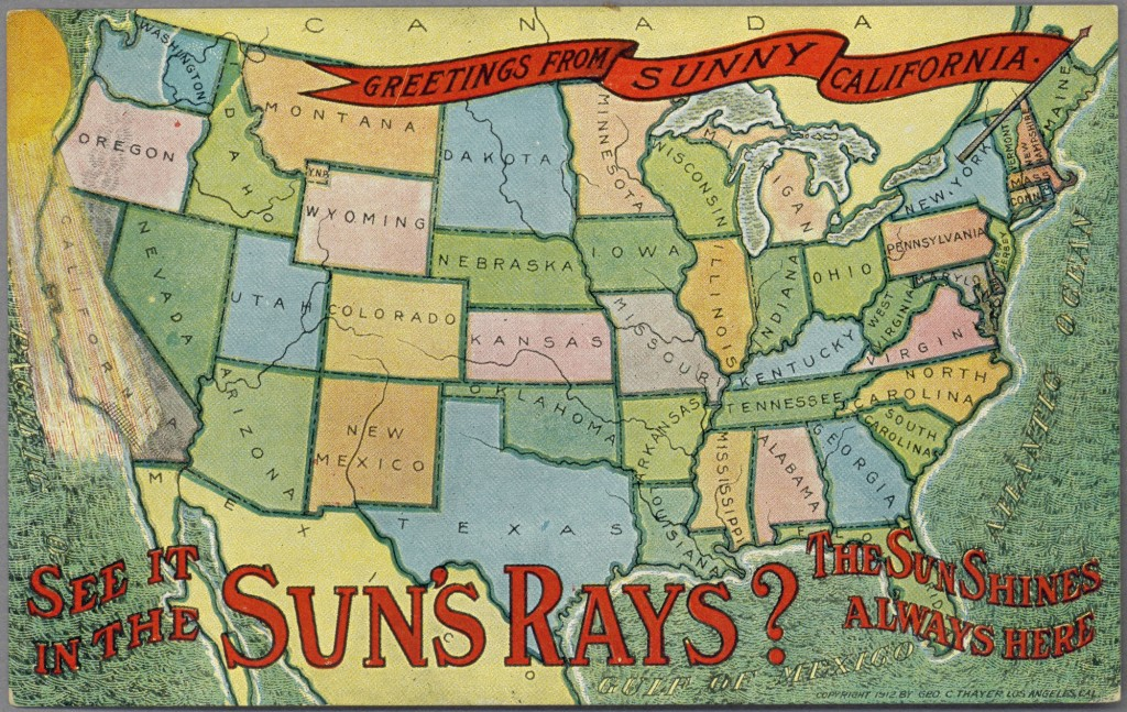 Greetings from Sunny California (1912 postcard, public domain)
