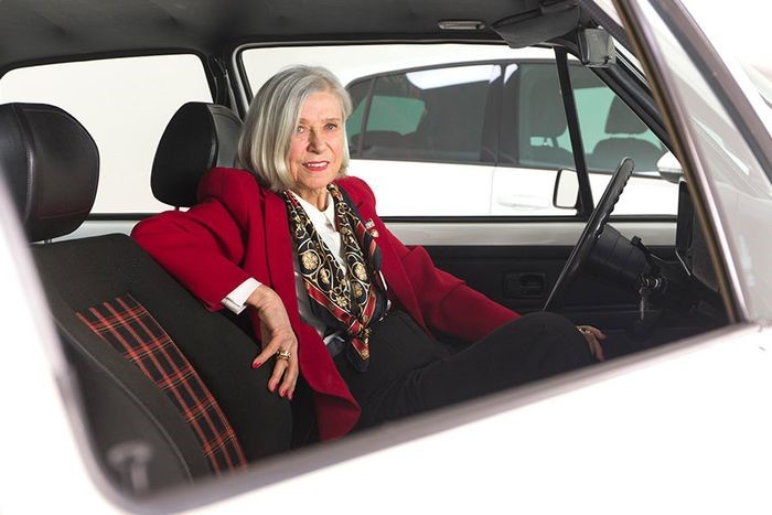 Gunhild Liljequist, one of Volkswagen's first female designers, shows off the GTI's plaid seats