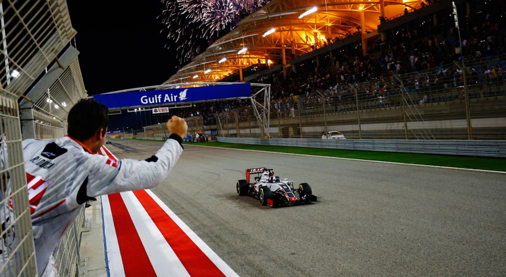 Haas' Romain Grosjean at the 2016 Formula One Bahrain Grand Prix