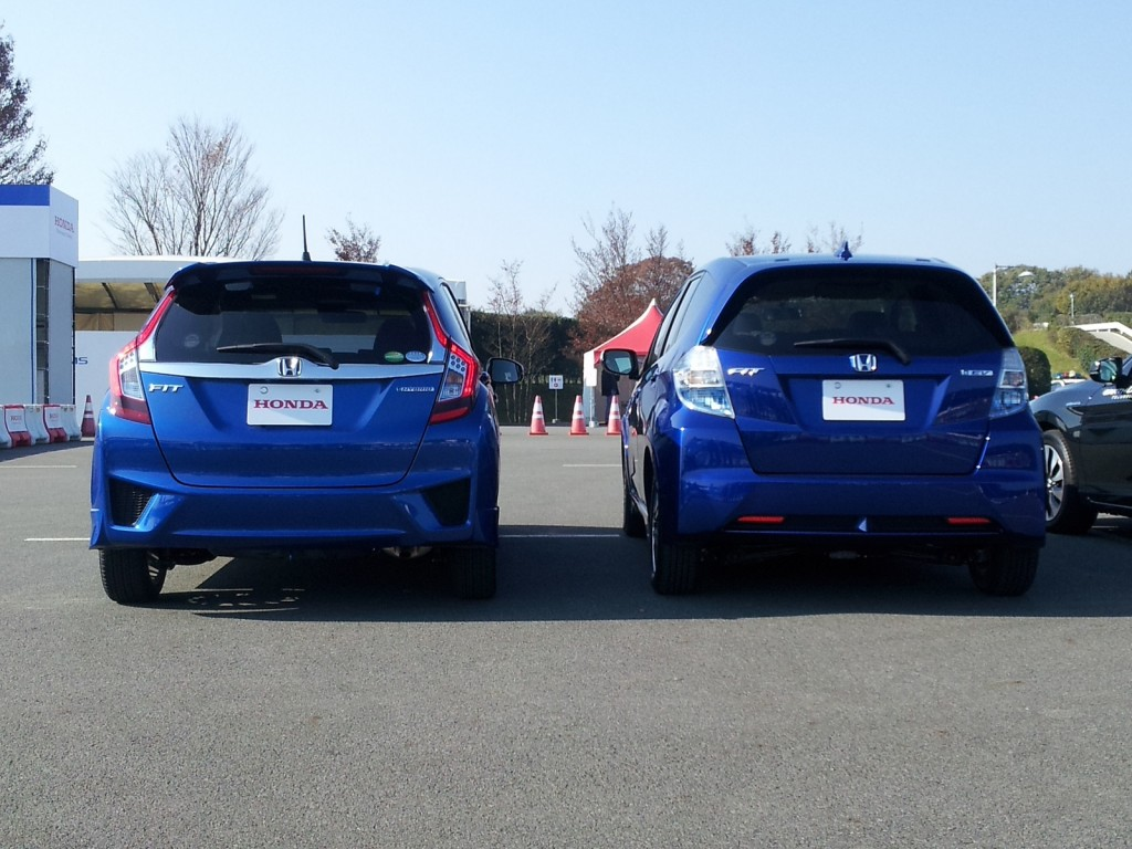 New & previous generations of Honda Fit, Honda Proving Grounds, Tochigi, Japan, Nov 2013