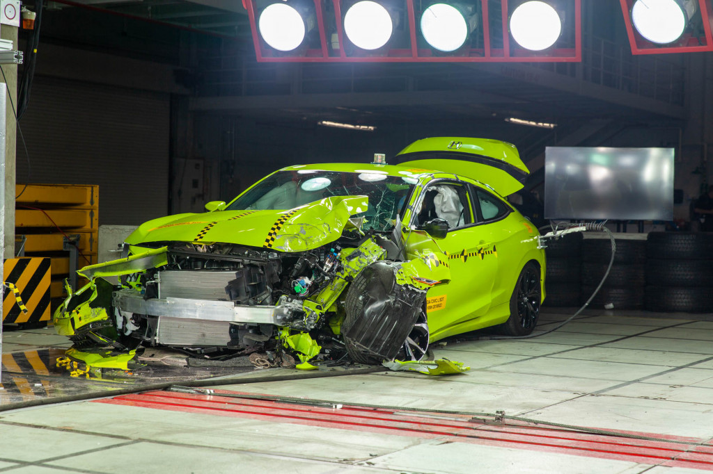 Decades of engineering preceded the milliseconds before this Honda was crashed