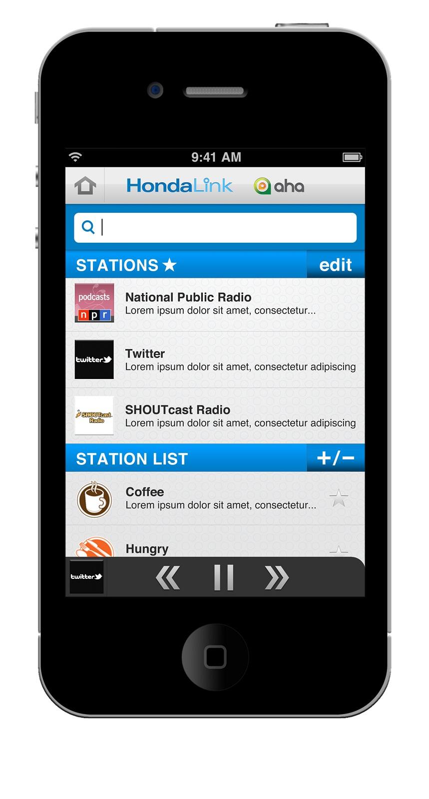 HondaLink app - list of radio stations