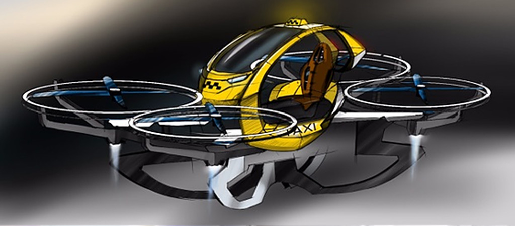 Hoversurf flying taxi concept sketch