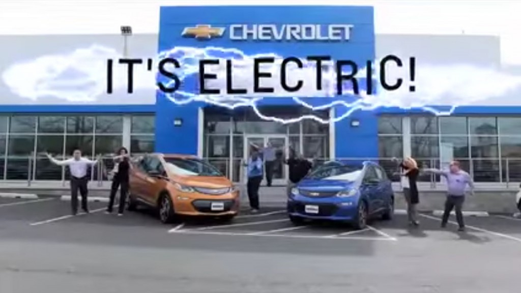 Image: Image from 2017 Chevrolet Bolt EV electric-car ad by Ourisman Chevrolet, Rockville ...