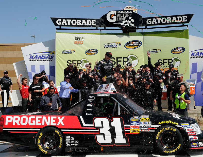 James Buescher celebrates his first Camping World Truck Series win - NASCAR photo