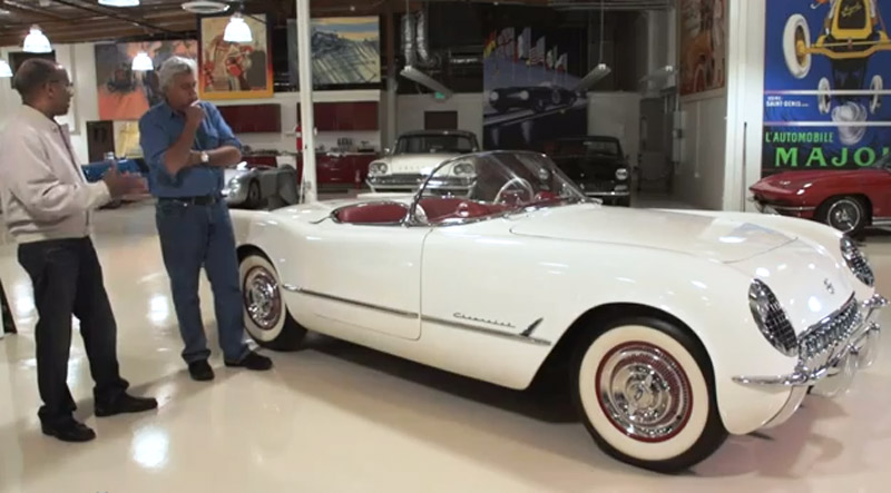 Jay Leno and Ed Welburn and a 1953 Corvette