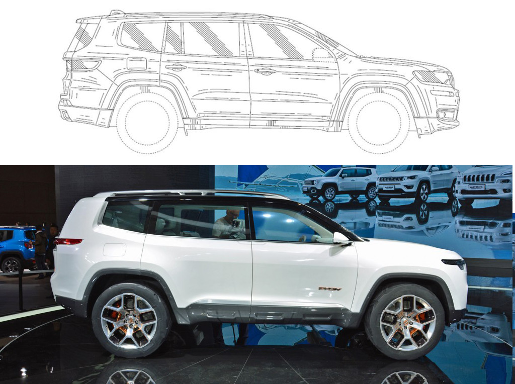 Jeep seven-seat SUV patent drawing versus Jeep Yuntu concept