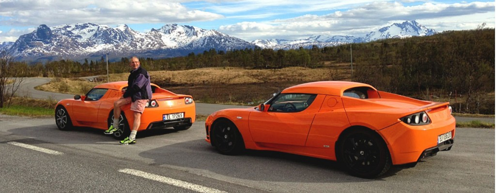 Jens Kratholm with two of his six Tesla Roadsters (via the Tesla Motors blog)