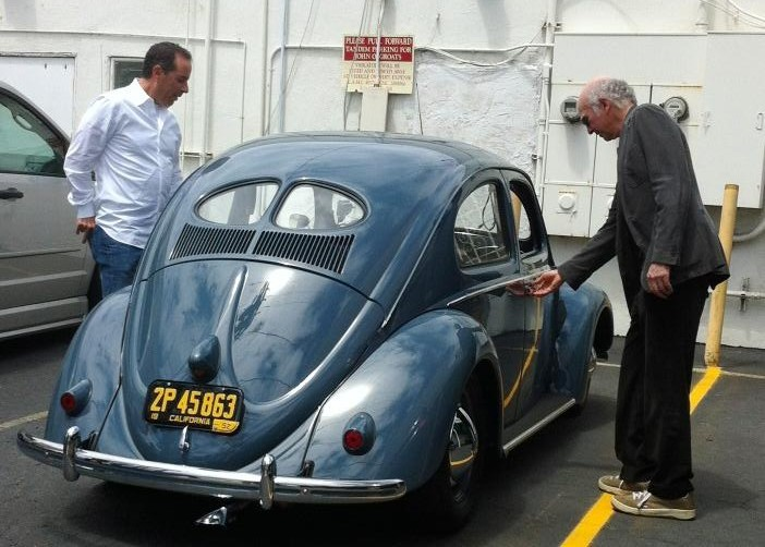 Jerry Seinfeld and Larry David with a 1952 VW Beetle, via Twitter