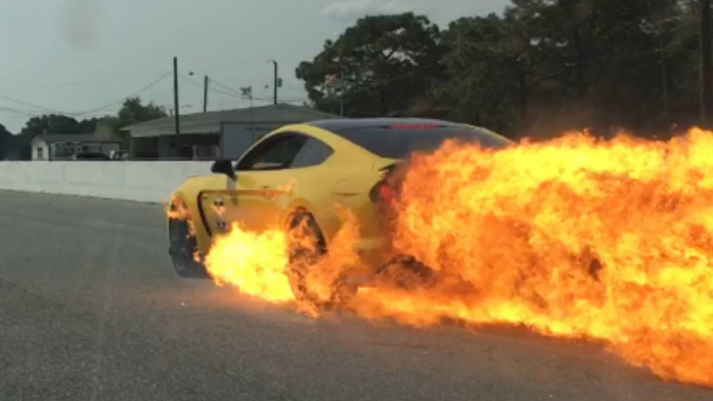Joe Charles in his 2016 Ford Mustang Shelby GT350 that caught fire during track day