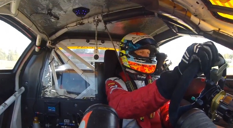Joerg Bergmeister driving the Flying Lizard Motorsports race car at the 2012 Petit Le Mans