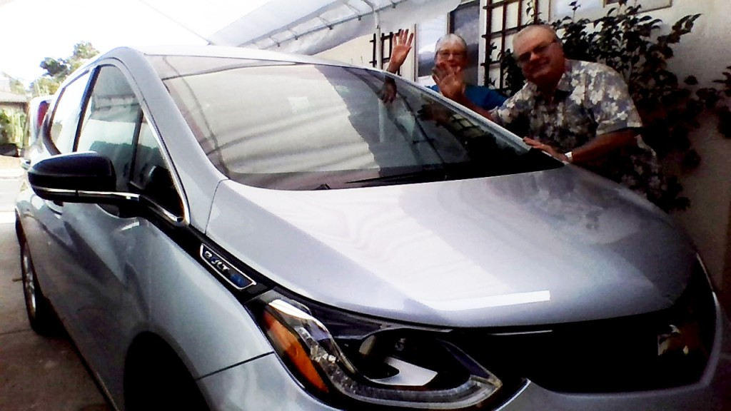 John and Mimi Porter of San Diego, California, with their new 2017 Chevrolet Bolt EV, in Feb 2017
