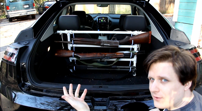 John McDole shows off his Volt's gun rack.