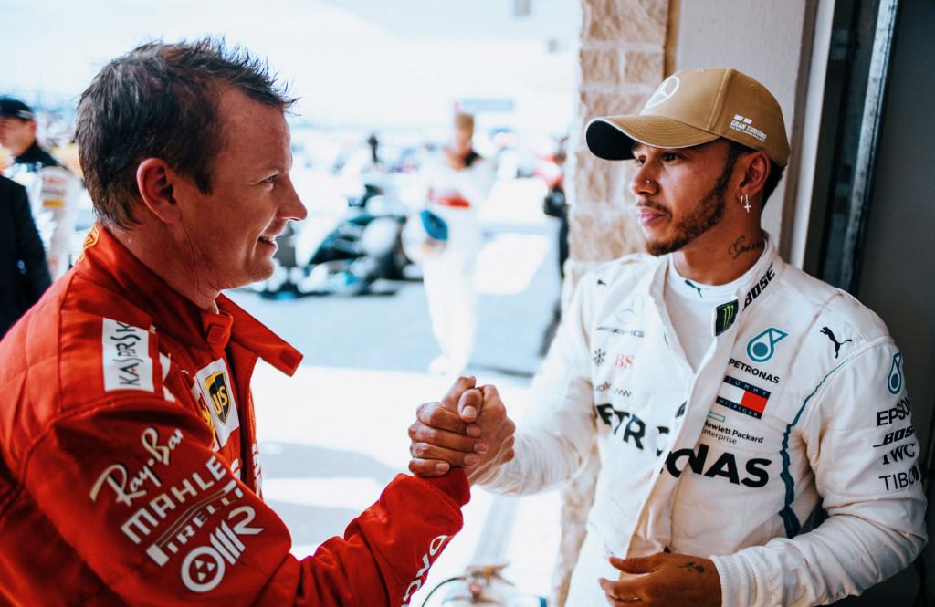 Kimi Räikkönen and Lewis Hamilton at the 2018 Formula 1 United States Grand Prix