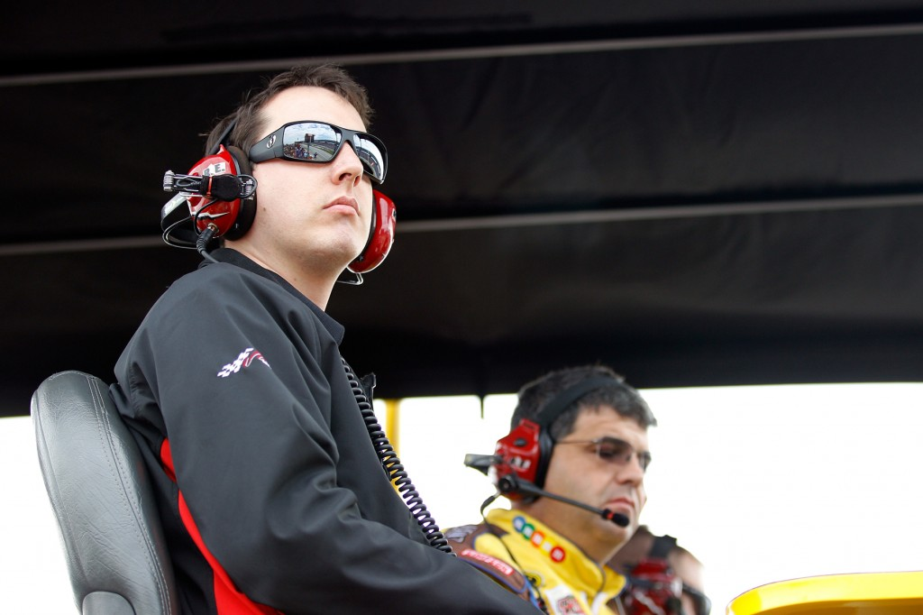 Kyle Busch Sits on the Timing Stand at Texas Motor Speedway - NASCAR photo